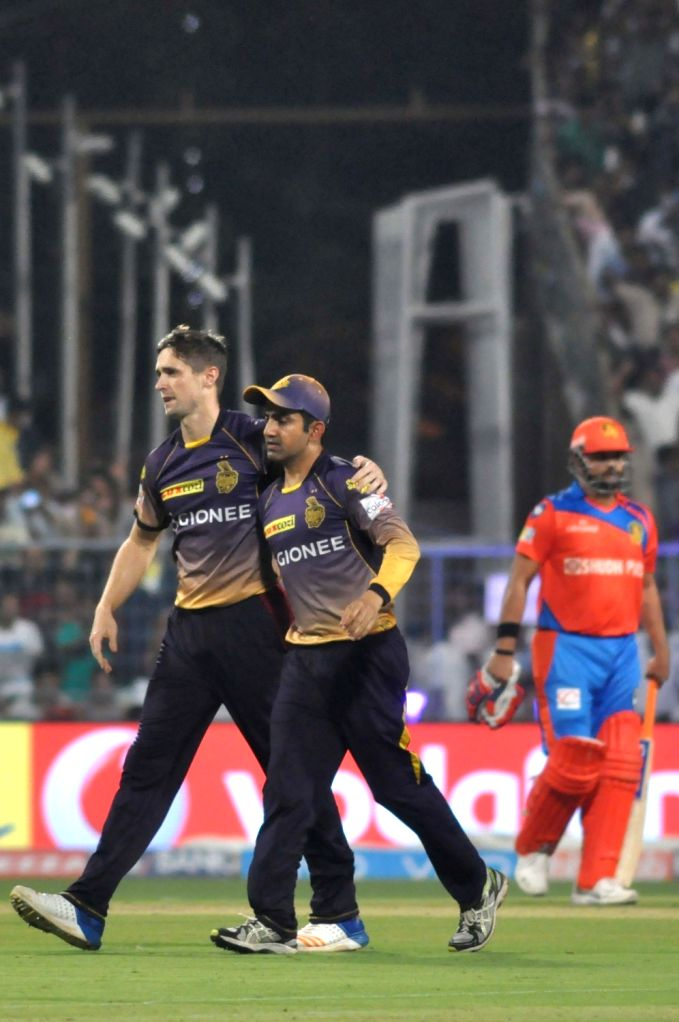 Kolkata Knight Riders players celebrate fall of Aaron Finch's wicket during an IPL 2017 match between Kolkata Knight Riders and Gujarat Lions at Eden Gardens in Kolkata, on April 21, 2017.