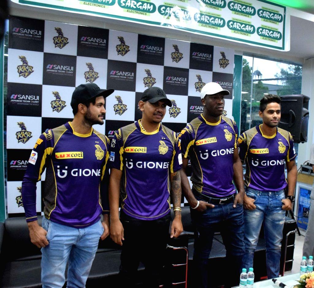 Kolkata Knight Riders players Manish Pandey, Suryakumar Yadav, Andrew Russell and Sunil Narine during a promotional programme in New Delhi. - Manish Pandey and Suryakumar Yadav