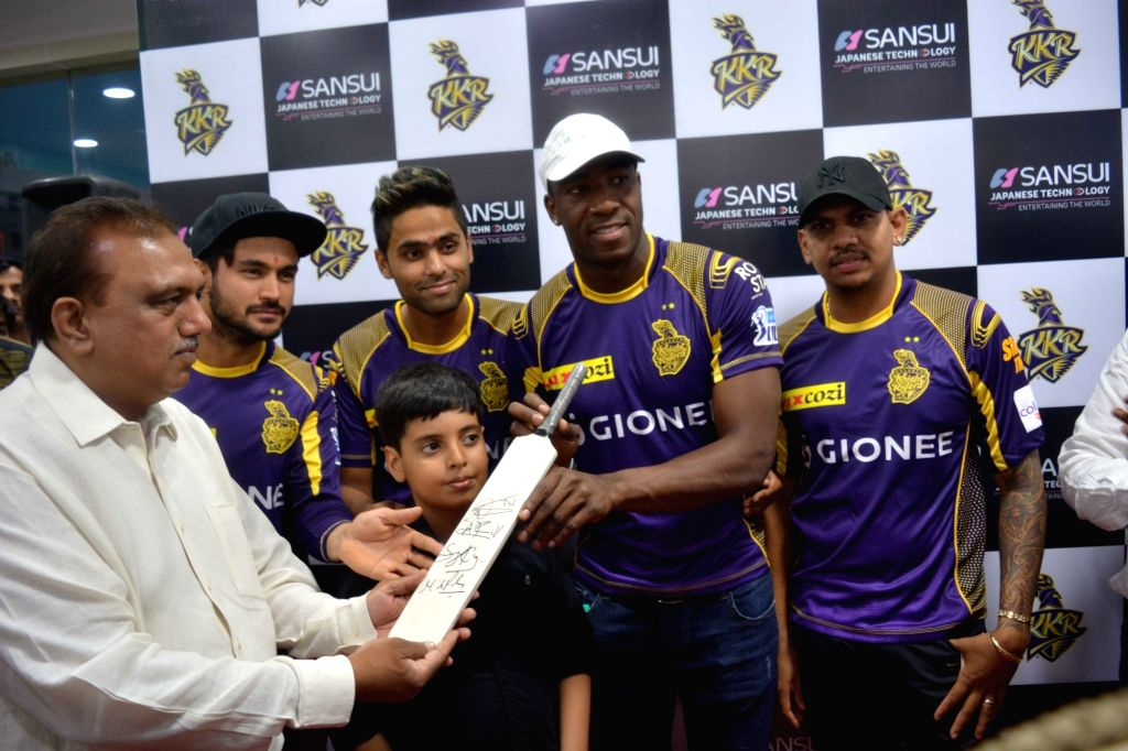 Kolkata Knight Riders players Manish Pandey, Suryakumar Yadav, Andrew Russell and Sunil Narine during a promotional programme in New Delhi. - Manish Pandey and Suryakumar Yadav