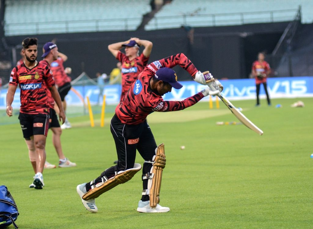 Kolkata Knight Riders' Robin Uthappa during a practice session in Kolkata on April 11, 2019.