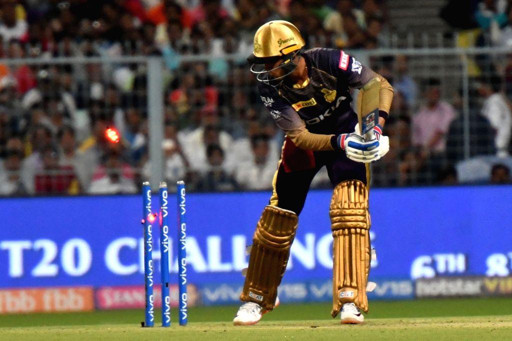 Kolkata Knight Riders' Shubman Gill gets bowled out during the 43rd match of IPL 2019 between Kolkata Knight Riders and Rajasthan Royals at Eden Gardens in Kolkata, on April 25, 2019.