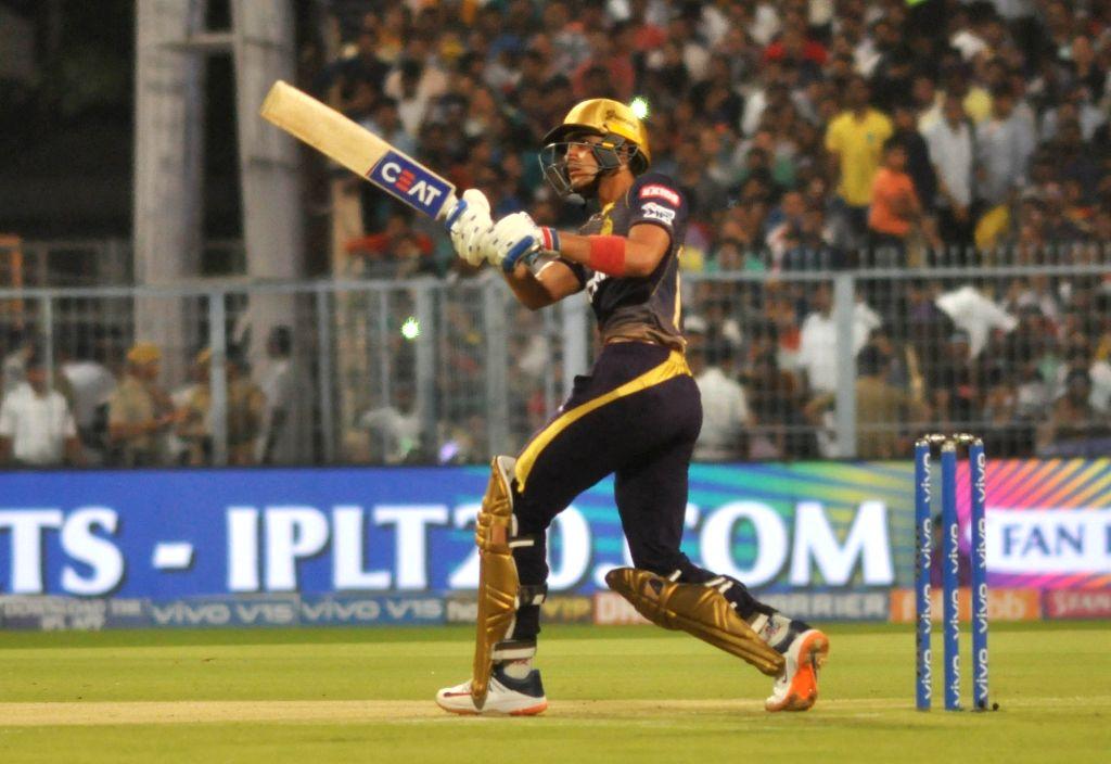 Kolkata Knight Riders' Shubman Gill in action during the 47th match of IPL 2019 between Kolkata Knight Riders and Mumbai Indians at Eden Gardens in Kolkata, on April 28, 2019.