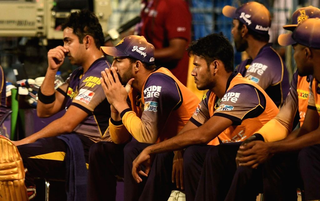 Kolkata Knight Riders sitting in their dugout during an IPL 2017 match between Kolkata Knight Riders and Mumbai Indians at Eden Gardens in Kolkata, on May 13, 2017.