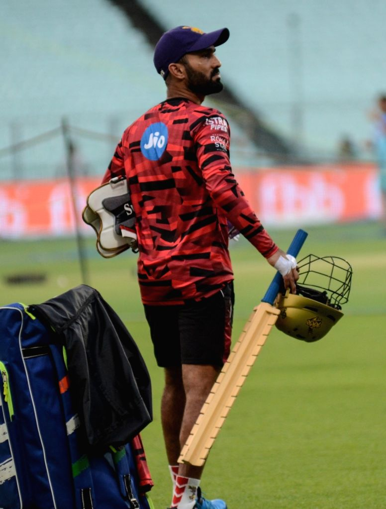 Kolkata Knight Riders' skipper Dinesh Karthik during a practice session in Kolkata on April 11, 2019.