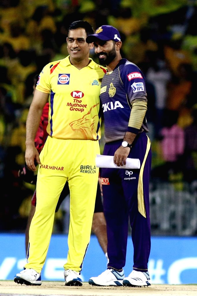 Kolkata Knight Riders' skipper Dinesh Karthik and Chennai Super Kings' skipper MS Dhoni during the toss ahead of the 23nd match of IPL 2019 between Kolkata Knight Riders and Chennai Super ... - MS Dhoni
