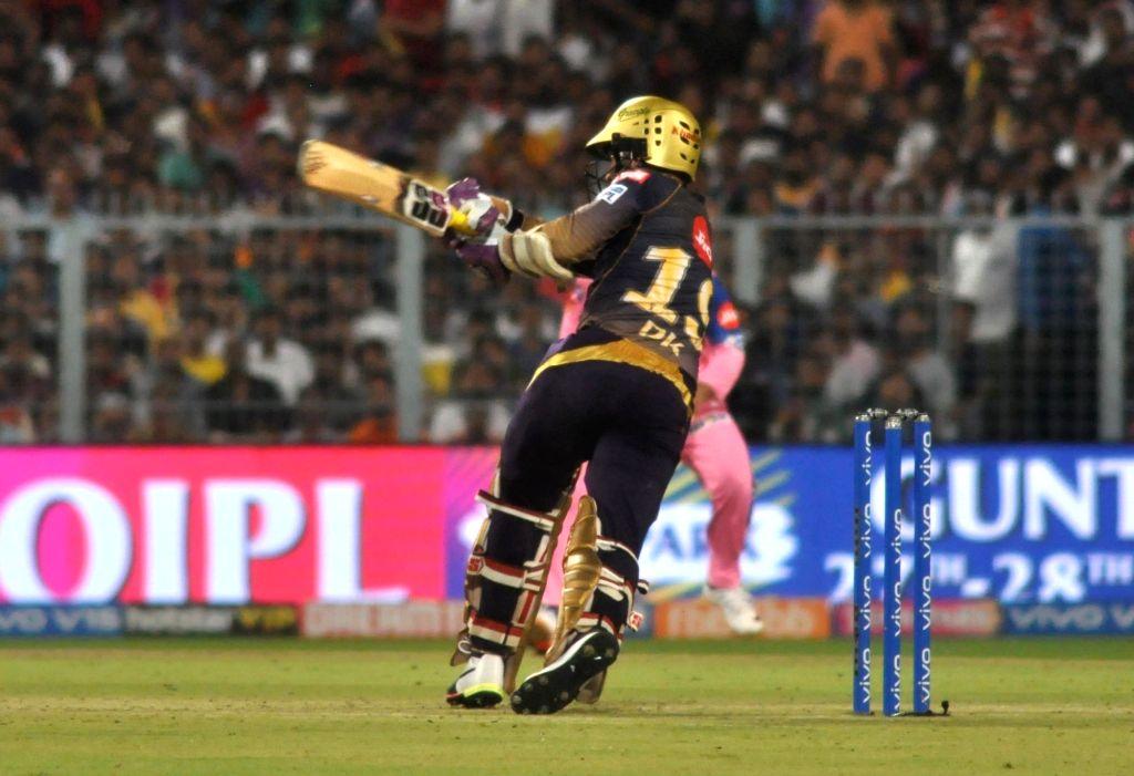 Kolkata Knight Riders' skipper Dinesh Karthik in action during the 43rd match of IPL 2019 between Kolkata Knight Riders and Rajasthan Royals at Eden Gardens in Kolkata, on April 25, 2019.