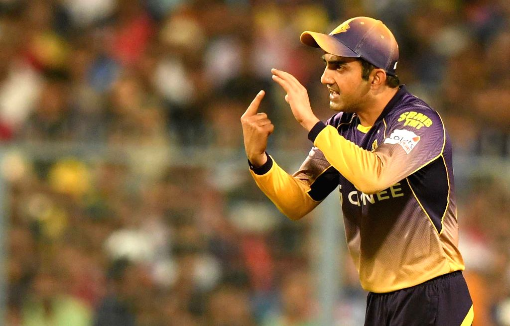Kolkata Knight Riders skipper Gautam Gambhir during an IPL 2017 match between Kolkata Knight Riders and Mumbai Indians at Eden Gardens in Kolkata, on May 13, 2017.