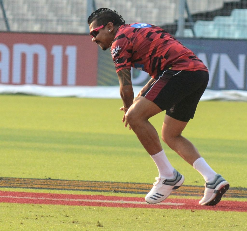 Kolkata Knight Riders' Sunil Narine in action during a practice session at the Eden Gardens in Kolkata, on April 24, 2019.