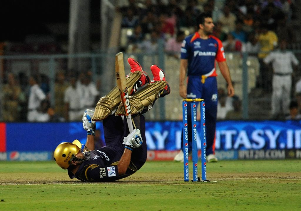Kolkata Knight Riders batsman Piyush Chawla during an IPL -2015 match between Delhi Daredevils and Kolkata Knight Riders at the Eden Gardens in Kolkata, on May 7, 2015. - Piyush Chawla
