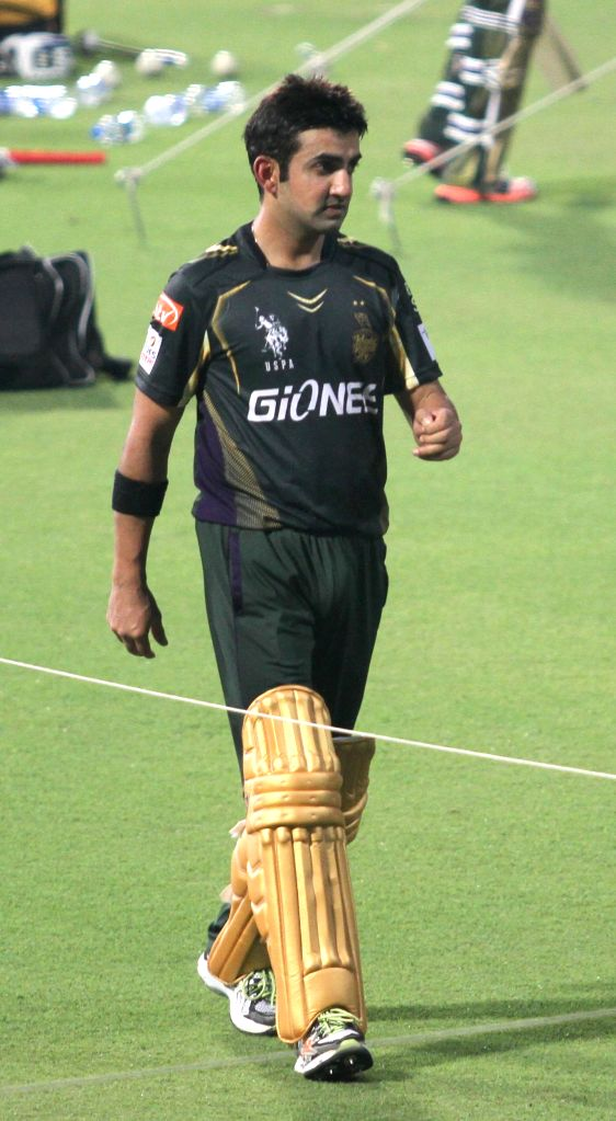 Kolkata Knight Riders captain Gautam Gambhir during a practice session for the upcoming IPL matches in Kolkata, on April 3, 2015. - Gautam Gambhir