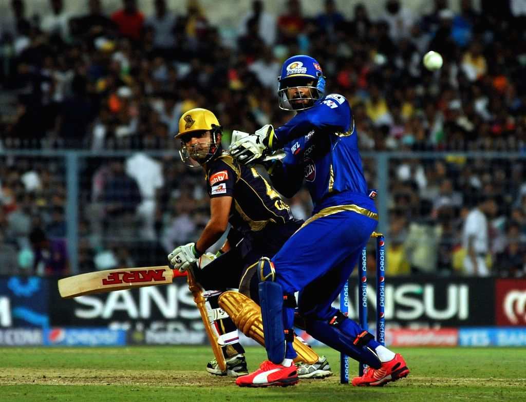 Kolkata Knight Riders captain Gautam Gambhir in action during an IPL-2015 match between Kolkata Knight Riders and Mumbai Indians in Kolkata, on April 8, 2015. - Gautam Gambhir