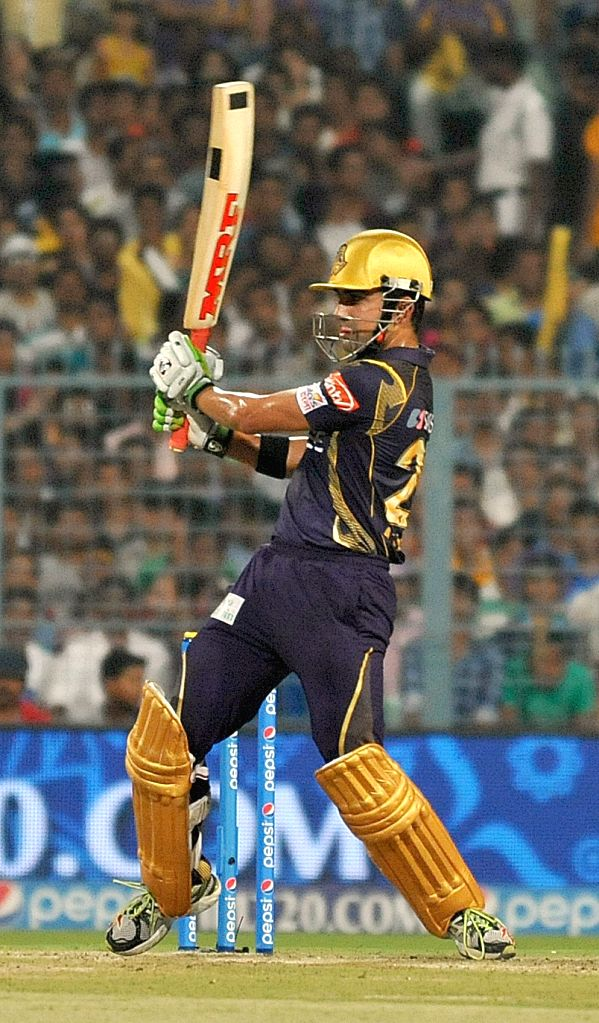 Kolkata Knight Riders captain Gautam Gambhir in action during an IPL 2015 match between Kolkata Knight Riders and Sunrisers Hyderabad at the Eden Gardens in Kolkata, on May 4, 2015. - Gautam Gambhir