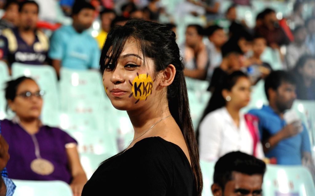 Kolkata Knight Riders fans during an IPL 2015 match between Kolkata Knight Riders and Sunrisers Hyderabad at the Eden Gardens in Kolkata, on May 4, 2015.