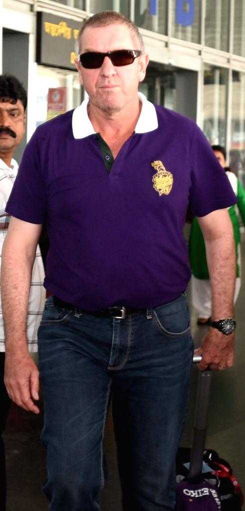 Kolkata Knight Riders head coach Trevor Bayliss arrives at Netaji Subhas Chandra Bose Airport in Kolkata on May 3, 2015.