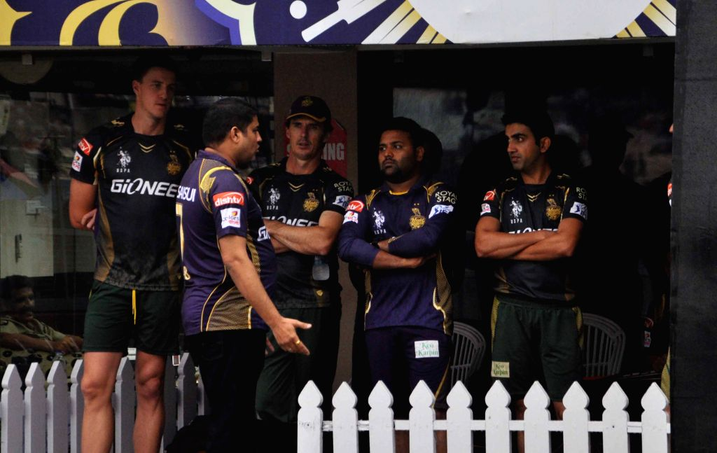 Kolkata Knight Riders (KKR) players in the pavilion of the Eden Gardens as rains disrupt an IPL-2015 match between Kolkata Knight Riders (KKR) and Rajasthan Royals (RR) in Kolkata on April ...