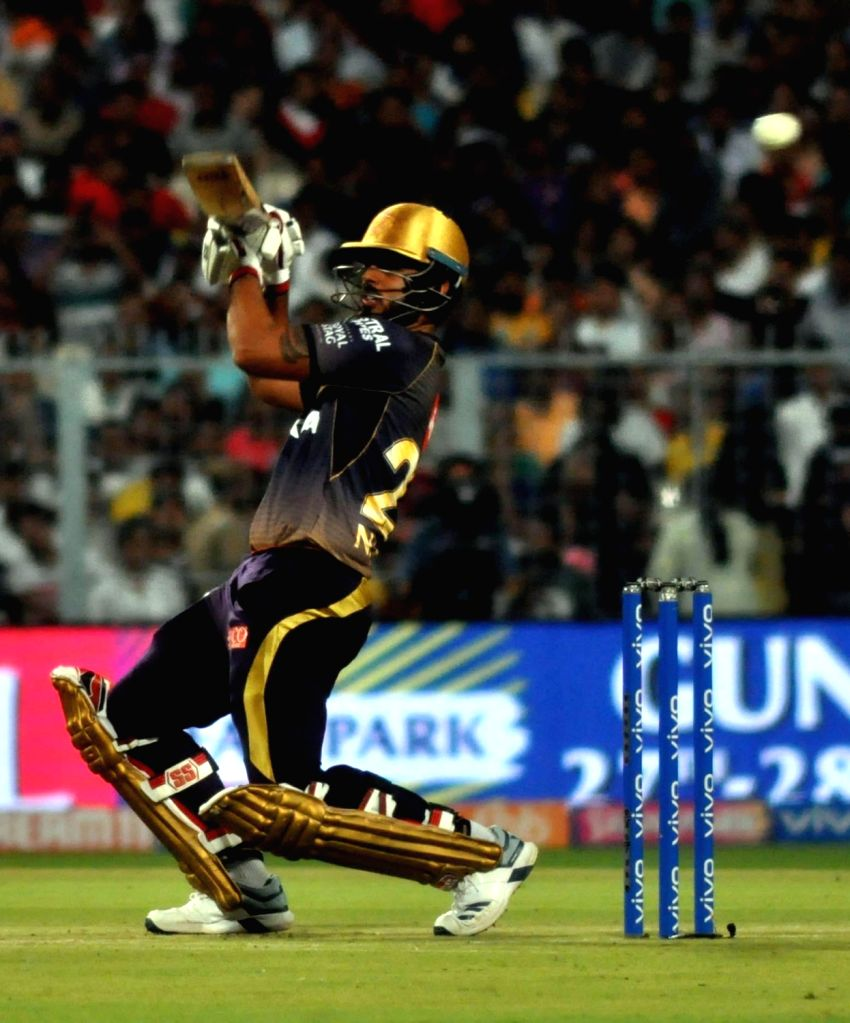 Kolkata: Kolkata Knight Riders' Nitish Rana in action during the 43rd match of IPL 2019 between Kolkata Knight Riders and Rajasthan Royals at Eden Gardens in Kolkata, on April 25, 2019. (Photo: Kuntal Chakrabarty/IANS)