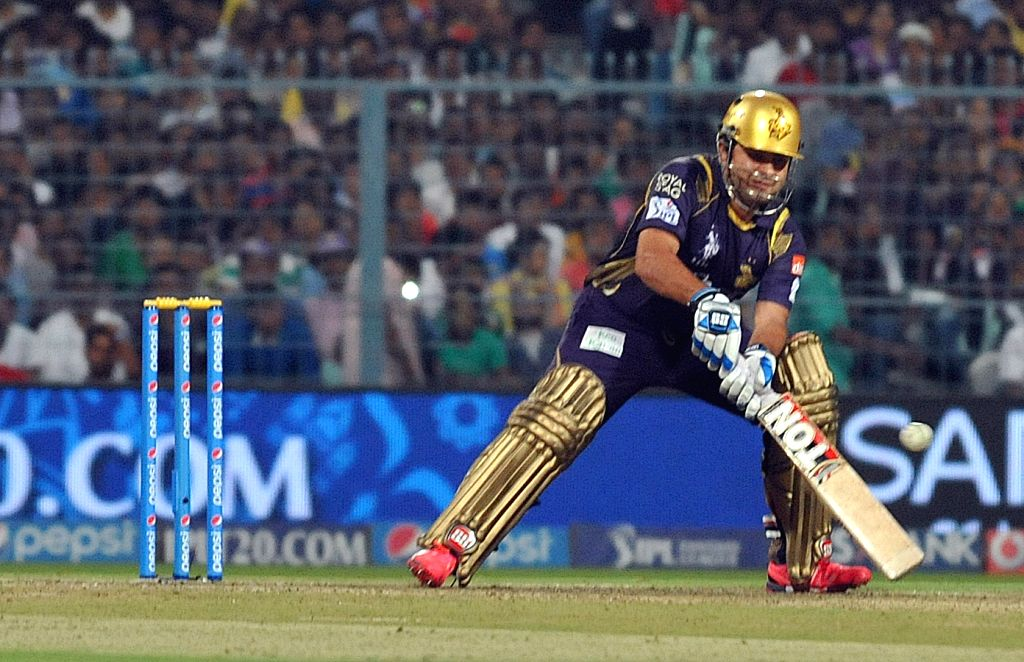 Kolkata Knight Riders player Piyush Chawla in action during an IPL 2015 match between Kolkata Knight Riders and Sunrisers Hyderabad at the Eden Gardens in Kolkata, on May 4, 2015.