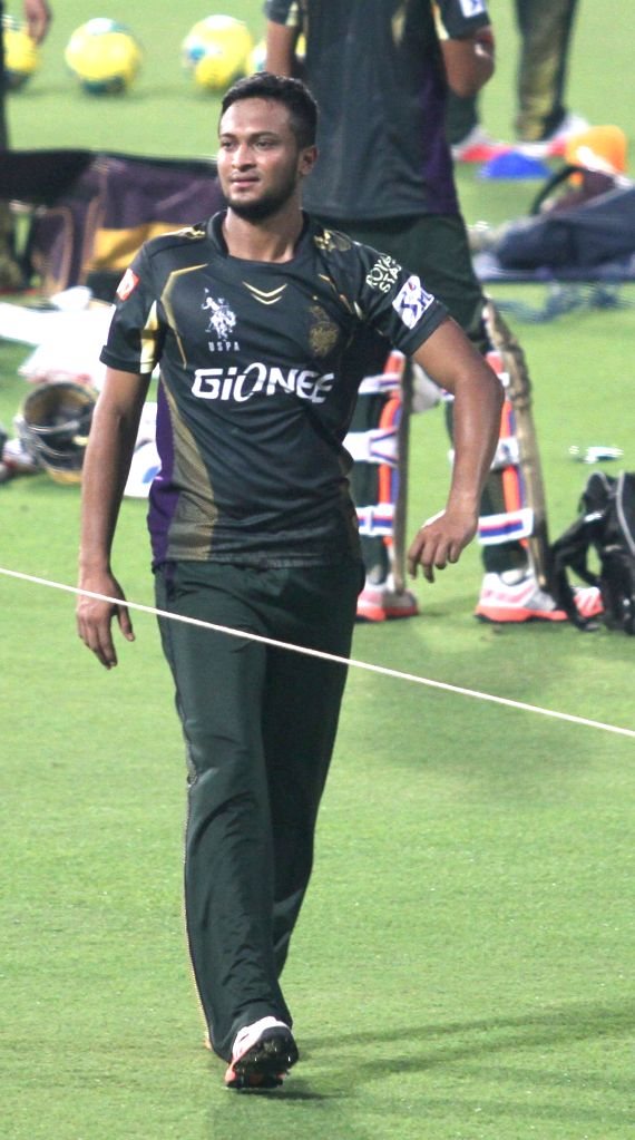 Kolkata Knight Riders player Shakib Al Hasan during a practice session for the upcoming IPL matches in Kolkata, on April 3, 2015.