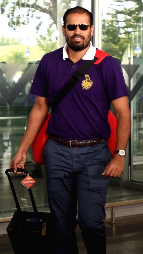 Kolkata Knight Riders player Yusuf Pathan arrives at Netaji Subhas Chandra Bose Airport in Kolkata on May 3, 2015.