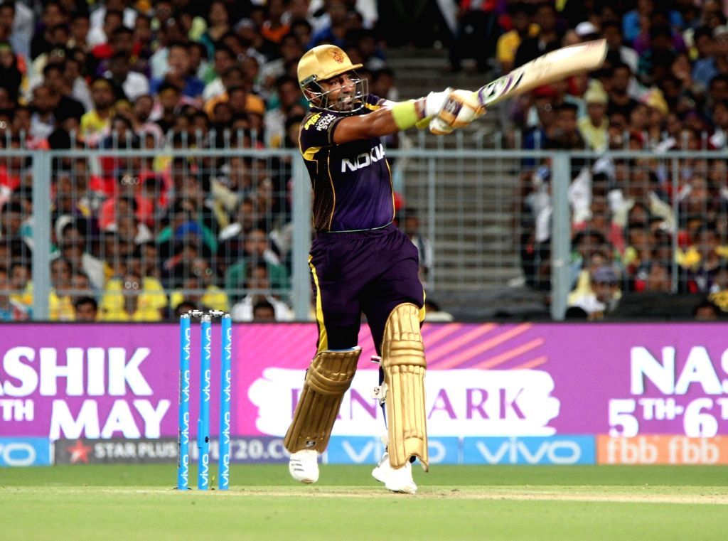 Kolkata: Kolkata Knight Riders' Robin Uthappa in action during an IPL 2018 match between Chennai Super Kings and Kolkata Knight Riders at Eden Gardens in Kolkata, on May 3, 2018. (Photo: IANS)