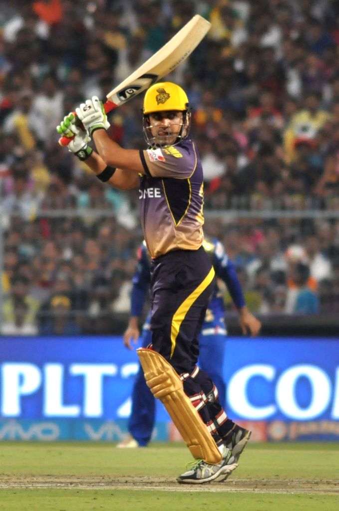 Kolkata: Kolkata Knight Riders skipper Gautam Gambhir in action during an IPL 2017 match between Kolkata Knight Riders and Mumbai Indians at Eden Gardens in Kolkata, on May 13, 2017.