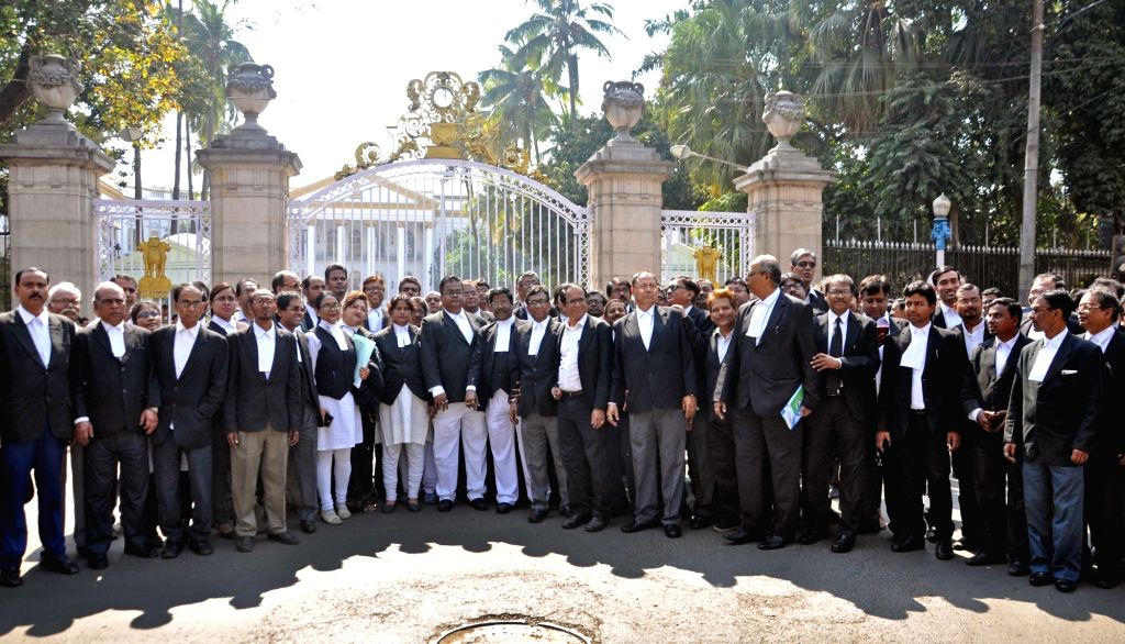 Kolkata: Lawyers participate in a march to press for their various demands in Kolkata, on  Feb 12, 2019. (Photo: Kuntal Chakrabarty/IANS)