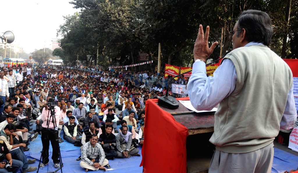Leader of Opposition in West Bengal Legislative Assembly and CPI (M) leader Suryakanta Misra addresses during a leftist trade union rally in Kolkata, on Dec 15, 2014.