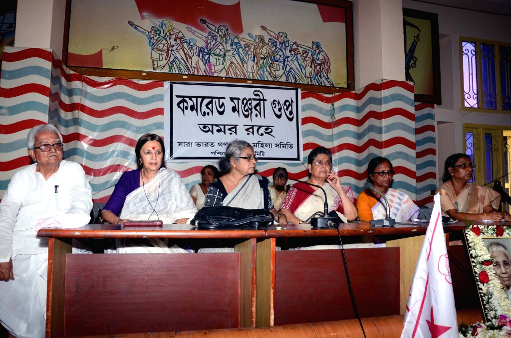 Left Front chairman Biman Bose and CPI (M) leader Brinda Karat during a program organised by CPI(M) in Kolkata on May 2, 2015.