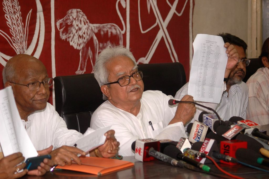 Left Front Chairman Biman Bose releases the list of candidates contesting the upcoming Kolkata Municipal Corporation polls in Kolkata, on March 15, 2015.