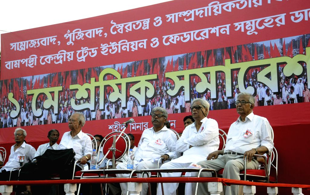 Left leaders during a rally organised to observe May Day at Shaheed Minar in Kolkata, on May 1, 2015.