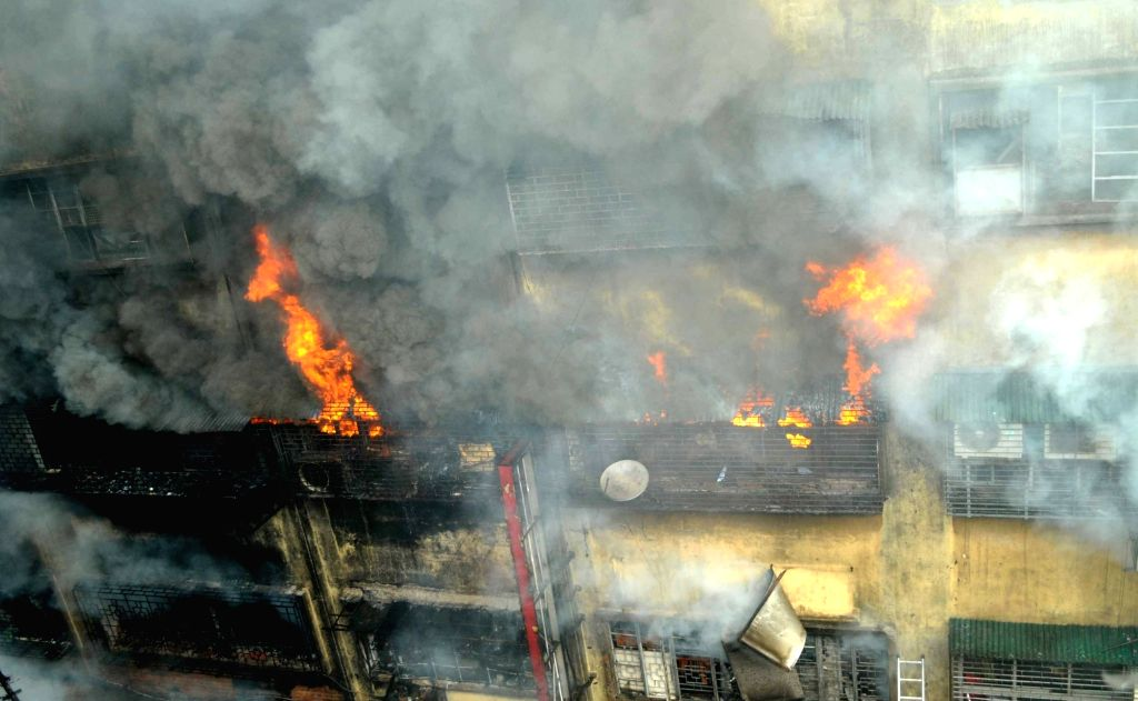 Kolkata: Massive fire breaks out in Central Kolkata's Bagri Market, on Sept 16, 2018. There were no reports of any casualty or injury. (Photo: Kuntal Chakrabarty/IANS)