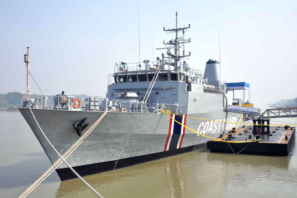 Mauritius Offshore Patrol Vessel (Barracuda) during a programme organised to hand over Mauritius Offshore Patrol Vessel (Barracuda) at  Garden Reach, in Kolkata, on Dec 20, 2014.