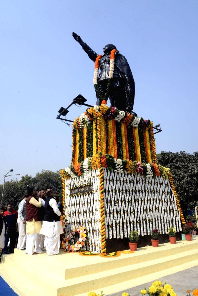 Kolkata Mayor Firhad Hakim, West Bengal Cabinet Minister Subrata Mukherjee and Trinamool Congress (TMC) MP Idris Ali pay tributes to freedom fighter Netaji Subhas Chandra Bose on his 122nd ... - Subrata Mukherjee