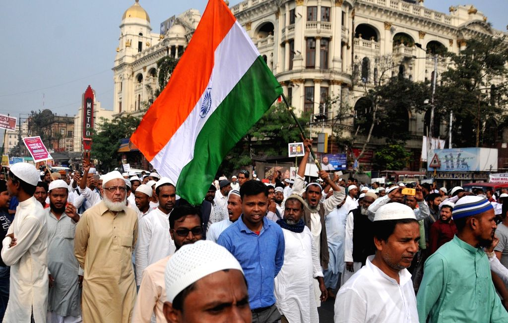 Kolkata: Members of Muslim community participate in a protest rally against Citizenship Amendment Bill (CAB) and NRC, in Kolkata on Dec 13, 2019. (Photo: Kuntal Chakrabarty/IANS)