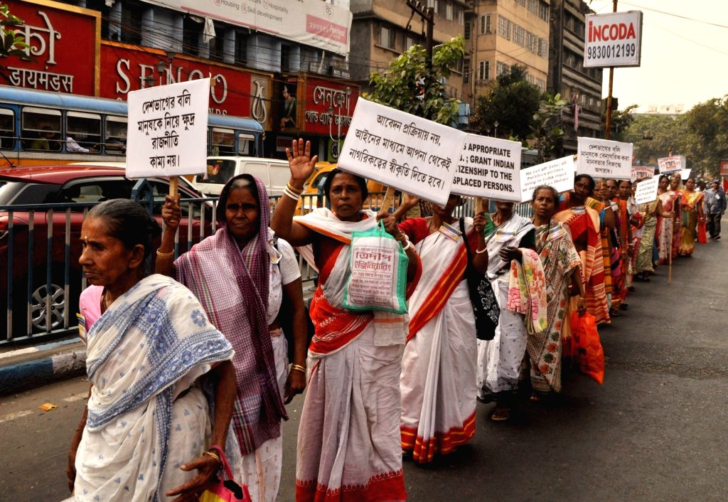 Kolkata: Members of Nikhil Bharat Bangali Udbastu Samanway Samiti (NBBUSS), a refugee welfare organisation, stage a demonstration demanding that the Central Government promulgates an ordinance to pass the Citizenship Amendment Bill in the Parliament;