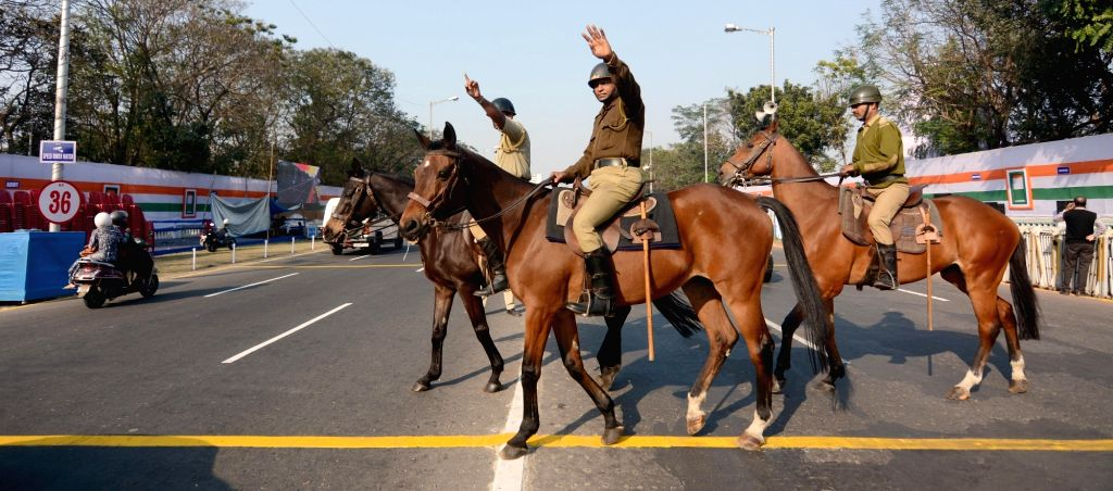 Kolkata Mounted Police deployed at Red Road on the eve of Republic Day parade 2020. in Kolkata on Jan 25, 2020.