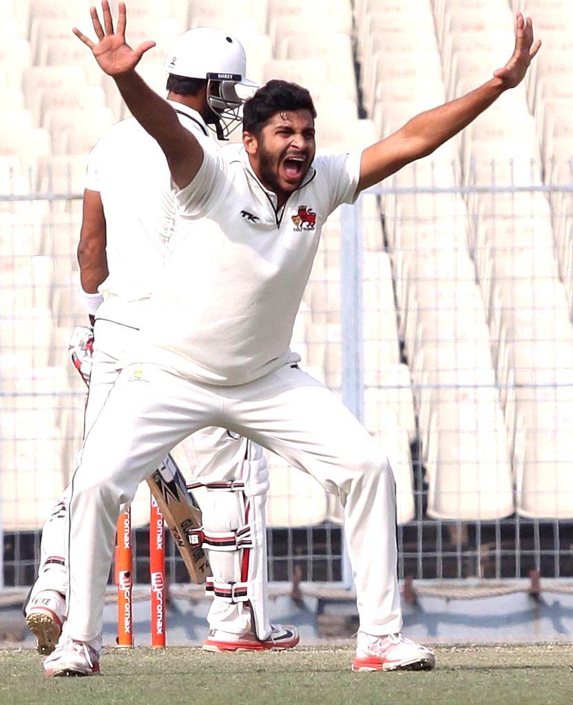 Mumbai bowler Shardul Thakur in action during a Ranji trophy match against Bengal at Eden Garden in Kolkata on Dec 29, 2014. - Shardul Thakur