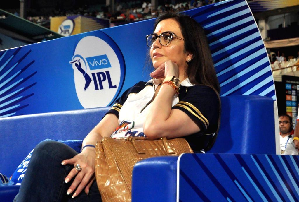 Kolkata: Mumbai Indians co-owner Nita Ambani during an IPL 2018 match between Mumbai Indians and Kolkata Knight Riders at Eden Gardens in Kolkata on May 9, 2018. (Photo: Kuntal Chakrabarty/IANS) - Nita Ambani