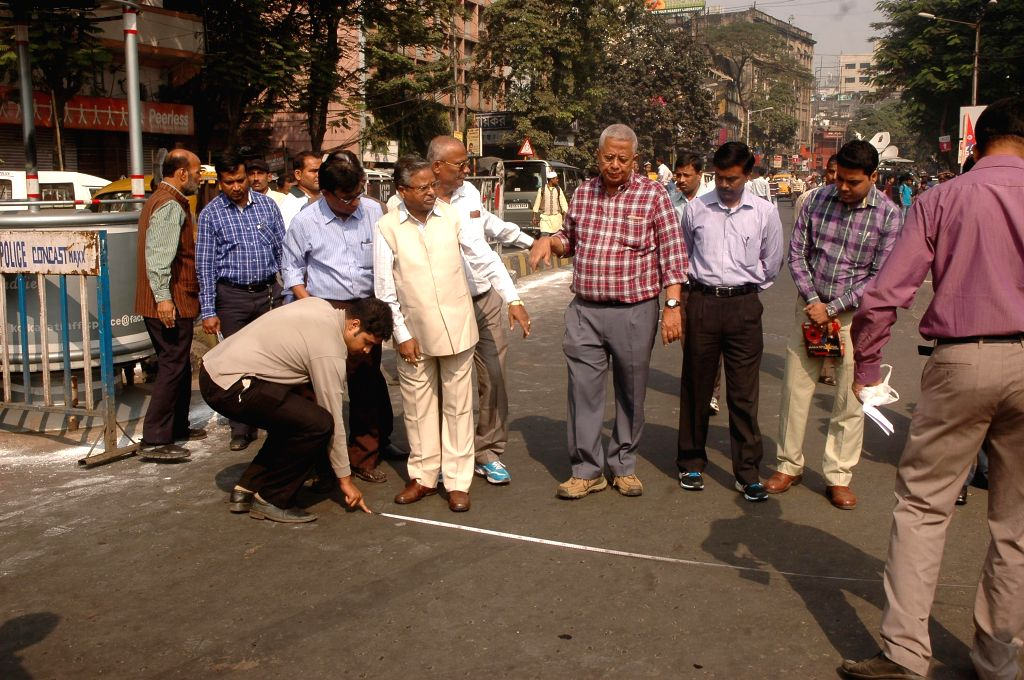 Municipal, Fire and Police officials inspecting the area where BJP will hold a public rally in Kolkata on Nov. 29, 2014.