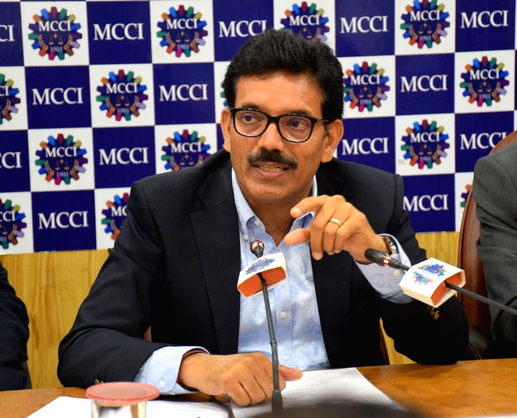 """Kolkata: National Anti-Profiteering Authority (NAA) Chairman B.N. Sharma during a special session on """"Anti- Profiteering in GST"""" organised by Madras Chamber of Commerce and Industry (MCCI) in Kolkata, on March 15, 2019. (Photo: IANS) - N. Sharma"""