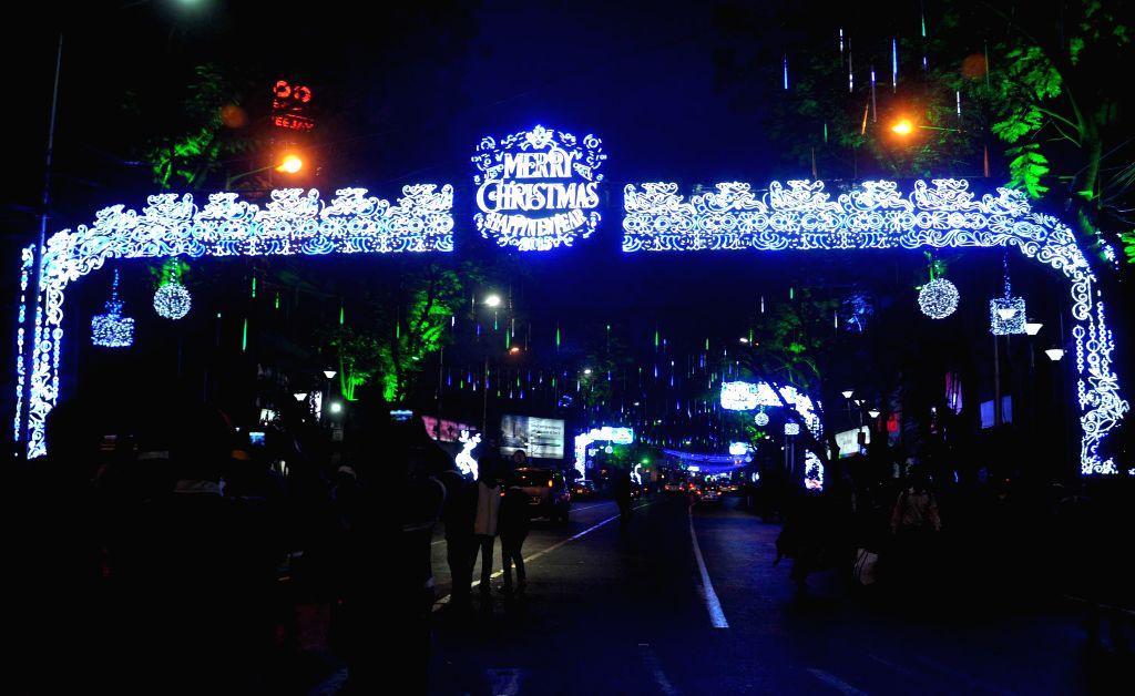 Park Street decked up on Christmas in Kolkata, on Dec 25, 2014.