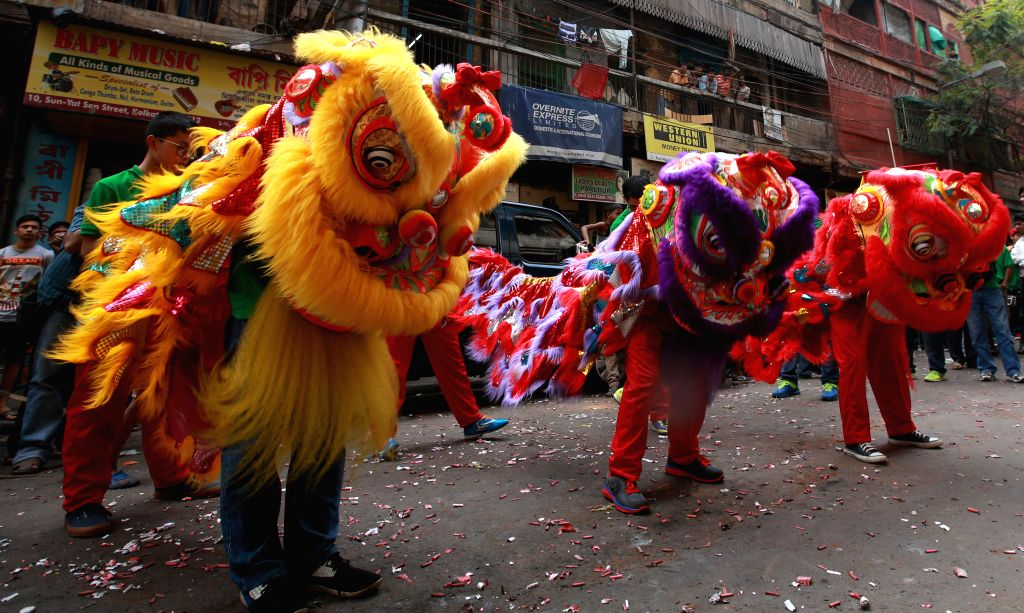 People of Chinese origin celebrate Chinese New Year in Kolkata, on Feb 19, 2015.