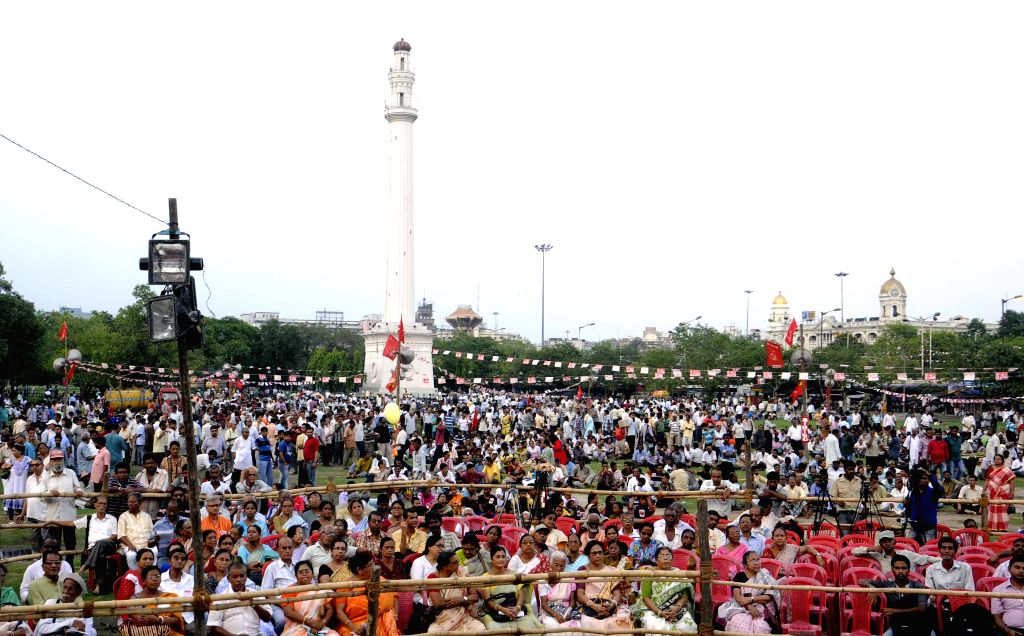People participate in a left rally organised to observe May Day at Shaheed Minar in Kolkata, on May 1, 2015.