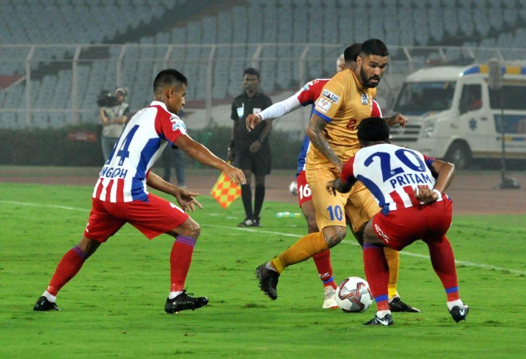 Kolkata: Player in action during an ISL 2019-20 match between ATK and Mumbai City FC at Salt Lake Stadium in Kolkata on Feb 22, 2019. (Photo: Kuntal Chakrabarty/IANS)