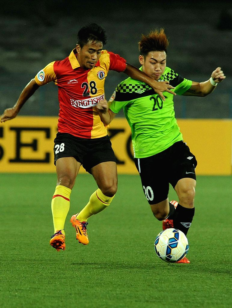 Players in action during an AFC cup match between East Bengal and Balestier Khalsa Football Club at Salt Lake stadium in Kolkata, on April 14, 2015. East Bengal won. Score: 3-0.