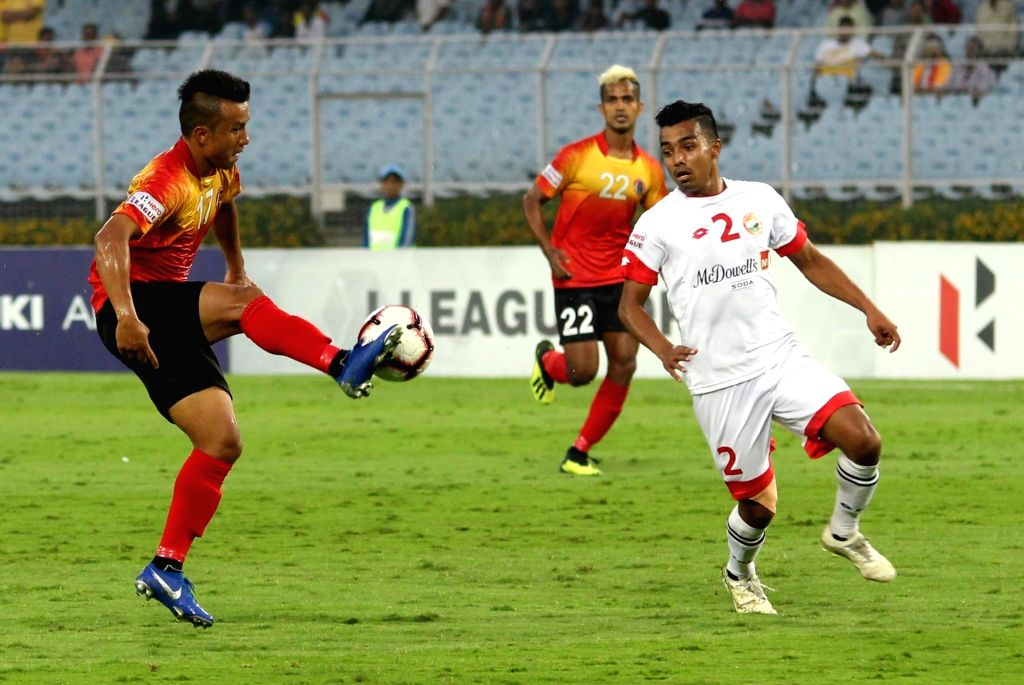 Kolkata: Players in action during an I-League match between East Bengal F.C. and Shillong Lajong F.C. at Salt Lake Stadium in Kolkata on Feb 14, 2019. (Photo: IANS)