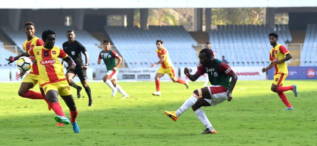 :Kolkata: Players in action during an I-League match between Gokulam Kerala FC and Mohun Bagan AC at the Salt Lake Stadium in Kolkata on Feb 12, 2018. (Photo: IANS).