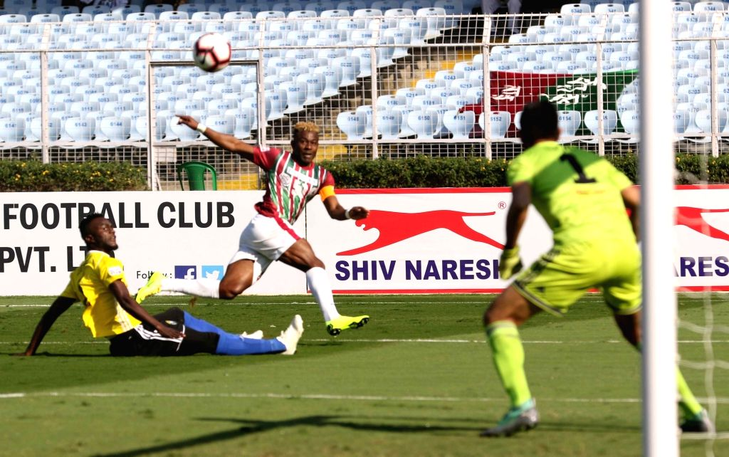 Kolkata: Players in action during an I-League match between Mohun Bagan A.C. and Real Kashmir F.C. at the Salt Lake stadium in Kolkata on Jan 6, 2019. (Photo: IANS)