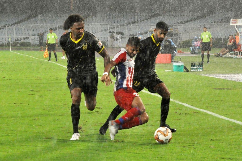 Kolkata: Players in action during the Indian Super League (ISL) match between ATK and Hyderabad FC at Salt Lake Stadium in Kolkata on Oct 25, 2019. (Photo: Kuntal Chakrabarty/IANS)