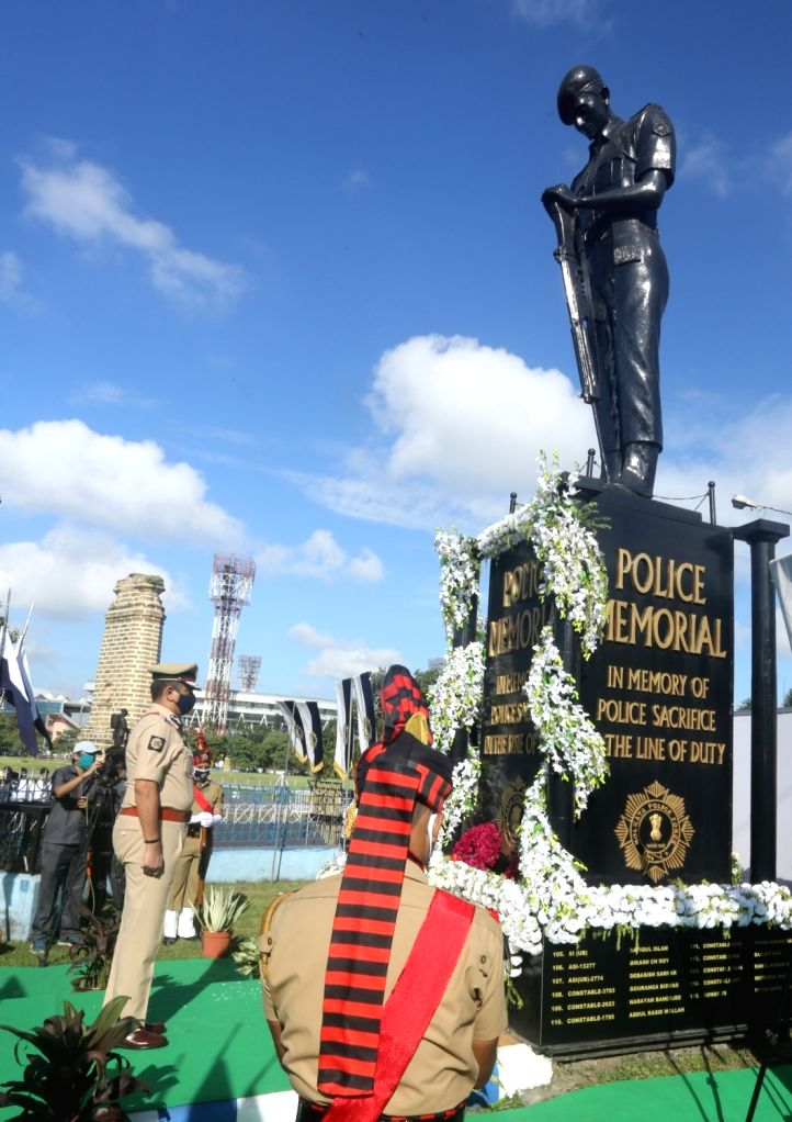 Kolkata Police Commissioner Anuj Sharma pays tribute to Police martyrs at the Police Memorial on the occasion of Police Commemoration Day 2020, in Kolkata on Oct 21, 2020.